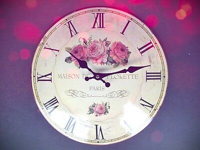 Wall Clock Maison Paris Iron Email Glass Batt Gift Vintage Aesthetics Rarity