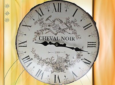 Wall Clock Cheval Noir D.35cm Email Glass Batt Gift Vintage Aesthetics Rarity