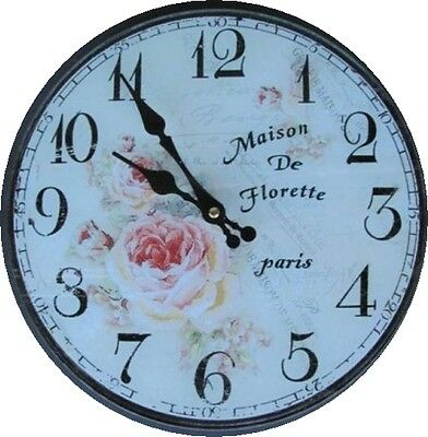 Wall Clock Paris Florett Glass Batt D 30cm Clock Gift Vintage Aesthetics Rarity