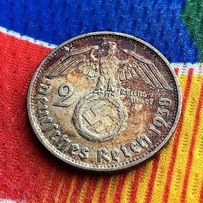 1938 B 2 Mark WWII German Silver Coin 3rd Reich  Reichsmark Coin 5* Toned