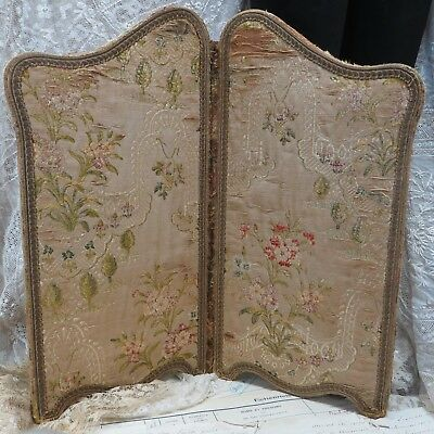 Shabby Tapestry Doll Screen Embroidery Metal Trim Antique Vtg French Cottage