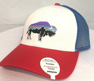 Patagonia Men s Fitz Roy Bison Red white blue Trucker Hat Mid Crown Snap Nwt 1662919979e