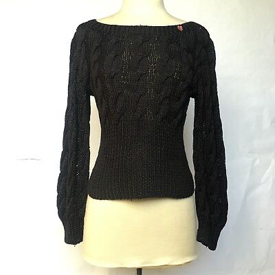 Hand Knit by Pamela C Black Cotton Cable Knit Boat Neck Vintage Sweater
