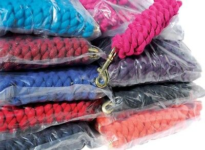 NEW Trade Pack Of 10 Cotton Horse Lead Ropes With Trigger Clip Plain Colours