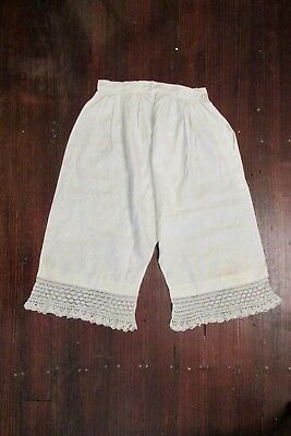 Ladies antique Victorian white cotton embroidered pantaloons bloomers underwear