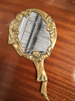 Miroir Face A Main Art Deco En Bronze Dore Pierrot