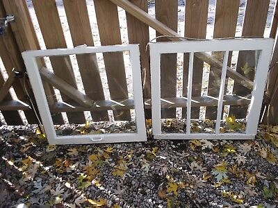 Set of 4 OLD VINTAGE ANTIQUE SHABBY CHIC WINDOWS - 2-three pane and 2 one pane