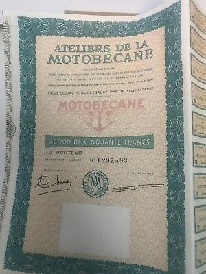 Motobecane Bond Certificate With Coupons Attached !  Highly Collectible