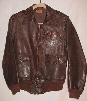 Authentic 1940's US AAF WWII Leather A-2 Bomber / Instructor Flight Jacket
