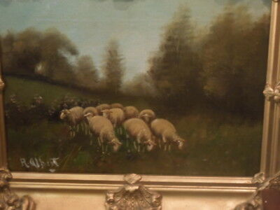 C-1890, Sheep Painting, R. Albert, oil on canvas