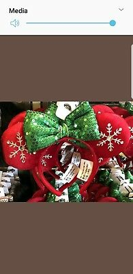 NEW Disney Parks 2018 Red Snowflake Holiday Minnie Ears Headband Christmas