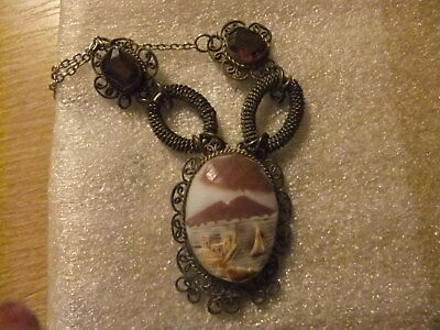 1920S Asian Antique Cameo Chinese Hand Carved Shell On Necklace