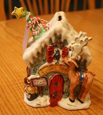 Whimsical New Blue Sky Clayworks Reindeer Christmas Rudolphs Place T Light House
