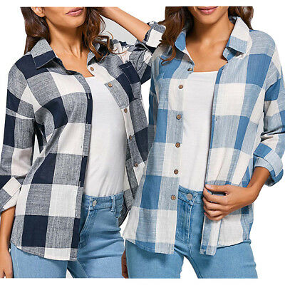 AU Womens Ladies Plaid Check Lapel Button Long Sleeve Casual Tops Shirt Blouse