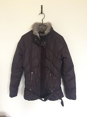 c4ad1f4d07f Pinko Sunday Morning Brown Down Jacket With Real Fur Collar Size Italy 42  Uk 10
