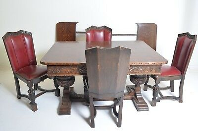 RARE Imported Antique English Dining Set - 4 Red Leather Chairs, 2 Leaves