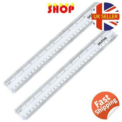 2 Pack Plastic Ruler Straight Ruler Measuring Tool 12 Inches, Clear