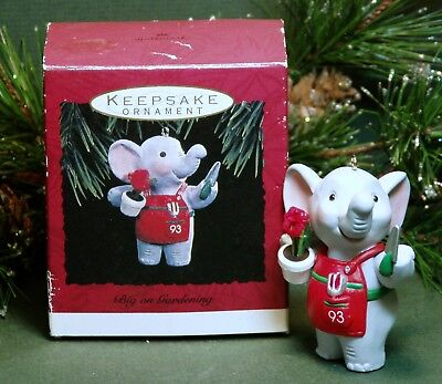 "1993 Hallmark Ornament ""Big on Gardening"" Elephant Gardener"