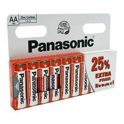 100 X AA Genuine Panasonic  Zinc Carbon Batteries - New R6 1.5V Expiry 08/2021