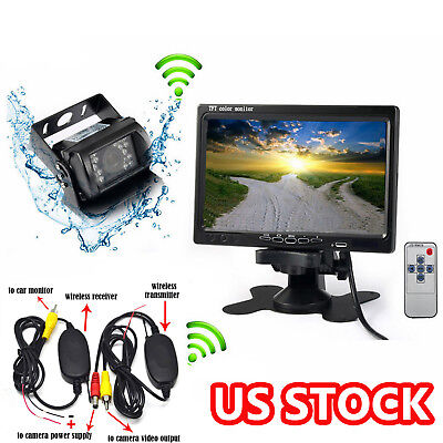 """7""""LCD Monitor Wireless IR Rear View Back Up Camera Night Vision For RV Truck Bus"""