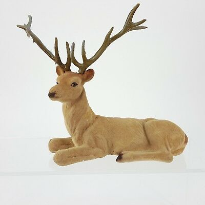 "Vintage Flocked Deer Buck 7"" Figurine w/ 6 Point Antler Hunter Decor"