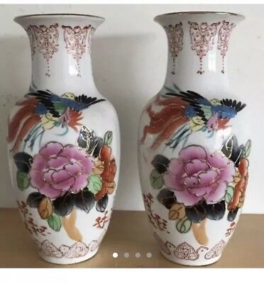 Vintage Pair of excellent condition hand painted Chinese vase VGC
