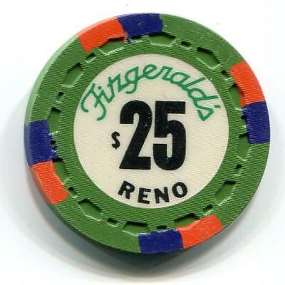 Reno FITZGERALD'S $25 Casino Chip sm crown 1976 CR#N6662 Low Bk $50 1st issue
