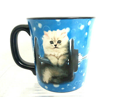 Keith Kimberlin Blue Fitness Cat Coffee Mug Weight Lifting Cat Tea Coffee Mug