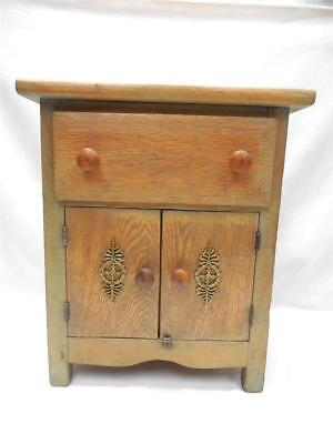 Vintage Child's Wood Jelly Cupboard w Brass Embellishments on Doors & Sides
