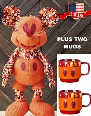 New Mickey Mouse Memories 2018 July Plush Doll And Two Mugs * US Seller*