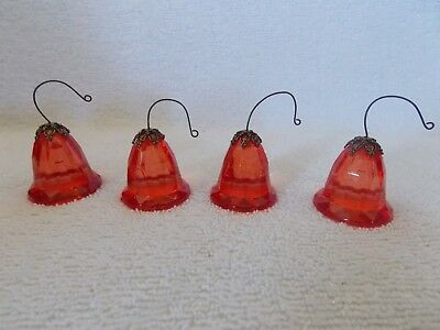 Lot Of 4 Red Plastic Bell Christmas Ornaments