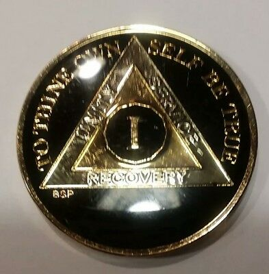 "1 Year AA Coin BLACK Enamel, Gold, Nickel 1⅜"" Traditional Size Recovery"