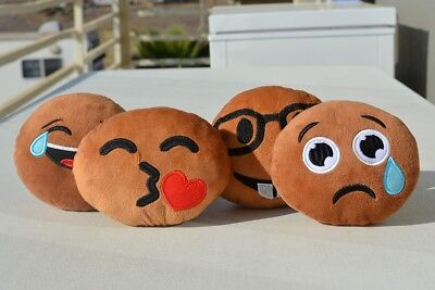 Handcrafted, Super Cute Black/ African American Emoji Pillow Dolls (4-Pack)