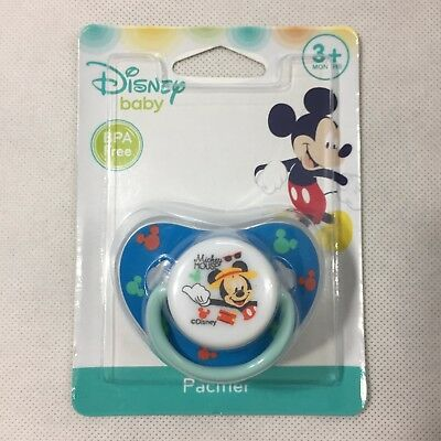 New Disney Baby Blue Mickey Mouse Soft Rim Silicone Pacifier BPA Free 3+ Months