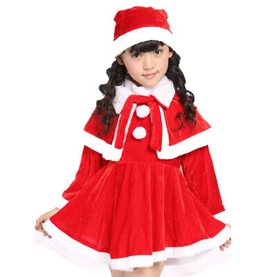 Christmas Santa Claus Kids Boy Girls Velvet Shawl Hat Suit Show Costumes Suits