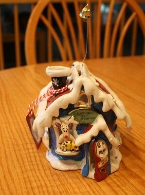 Blue Sky Clayworks Reindeer Christmas Jingle Bell Toy Repair Shop T Light House