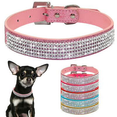 Pet Dog Adjustable Bling Crystal Leather Choker Collars Puppy Fashion Necklace