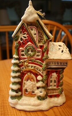 Sweet Blue Sky Clayworks Reindeer Christmas T Light House Reindeerville Goldminc