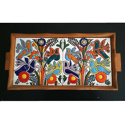 RETRO 60S VILLEROY & BOCH ACAPULCO RARE TILED SERVING WOOD  TRAY collectable