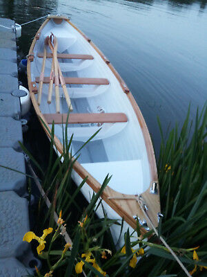 18ft Rowing Boat/Mini Gig Demo Built in GRP White Hull, Finished in Wood