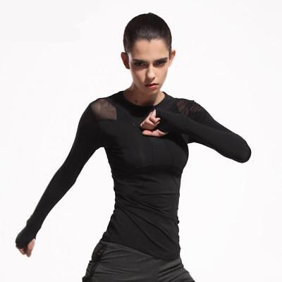 Women Breathable Mesh Yoga Tops Long Sleeve Quick Dry Black Gym Fitness Shirts