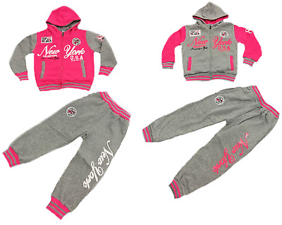 New Girls Pink & Grey Hooded Sports Tracksuit 2 Piece Set Size 4 To 16 Years