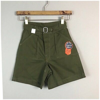 Vintage NOS 1950s Dark Green Herringbone Scout Style Buckle Front Shorts Boy's