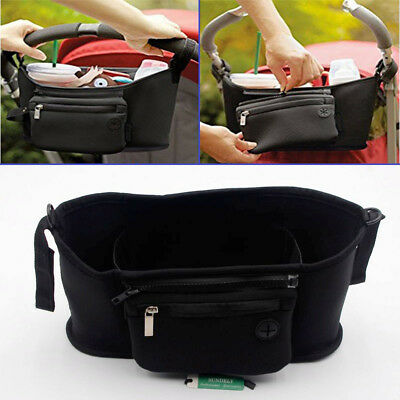 Baby Pram Buggy Organiser Pushchair Stroller Storage Cup Holder Bag Black