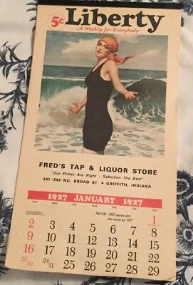 Calendar 1927 Liberty Freds Tap & Liquor Store Great Vintage Pictures