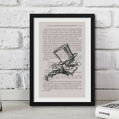 Framed Alice In Wonderland Book Page Art Mad Hatter Running Late Print