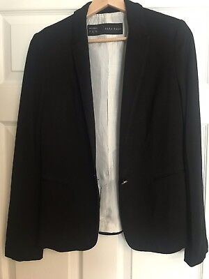 51ecb2d4 WOMENS ZARA BLACK FITTED DRESS WITH CREAM LEATHER LOOK PANELS size 6 ...