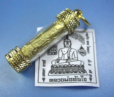 Takrut LP Tunjai Pendant Buddha Thai Amulet Magic Sacred Good Luck Metal Gold