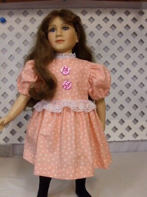 Doll Dress fits 23 inch My Twin  Handmade Pink White Dots Lace/Buttons & Panties