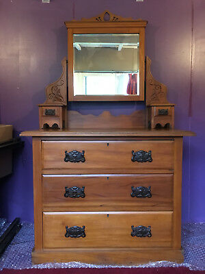 Antique Art Nouveau Satinwood Dressing Table with Mirror and matching Wardrobe